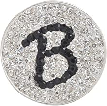 B- Initial Micro Pave Crystal Ball Marker Black w Hat Clip