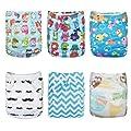 Alva Baby 6pcs Pack Pocket Adjustable Reusable Cloth Diaper with 2 Inserts Each (Neutral) 6DM10
