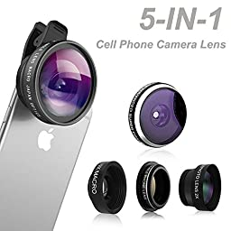 Phone Camera Lens, Comsun 5 in 1 Universal Clip-on Cell Phone Camera Lens Kit, 235 Degree Fisheye, 0.4X Wide Angle, 19X Macro, 2X barlow, CPL for Apple iphone ipad Samsung Galaxy Tablet Smartphone