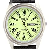 Orkina Mens Light Green Dial Quartz Date Day Nylon Canvas Band Wrist Watch P104CA-SBRLG