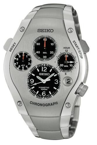 SLQ007 Seiko Sportura Kinetic Chronograph Limited Edition Silver Face Watch