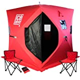 Ice Devil Portable Ice Fishing Shanty Shelter + Chairs + Anchors