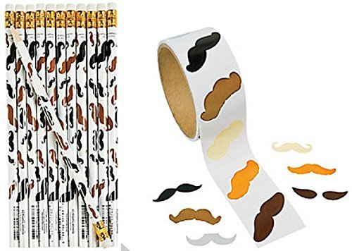 Mustache Pencils and Stickers Set (124 Pieces)