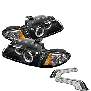 Carpart4u Dodge Caravan/Grand LED Caravan / Chrysler Town & Country / Chrysler Voyager 2000 Halo LED Black Projector Headlights and LED Day Time Running Light Package
