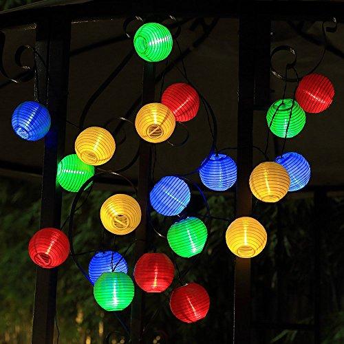 Japace® 20 LEDs 4.8M Catena di Lanterne Stringa Led Solare Impermeabile Luce Della Stringa Soffusa e Calda Luce Stringa Led Energia Solare per Decorazione All'aperto , Festa , Giardino , Compleanno, Natale---Multicolore
