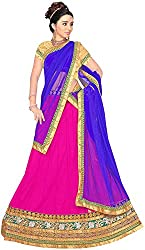 Jay Ambe Creation Women's Viscose Unstitched Lehenga Choli (dno139a, Pink & B...