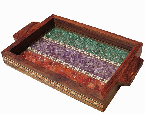 Serving Tray Made with Decorative Crushed Gem Stones in Design of Two Parllel Line, Must for Home & Dining Purpose