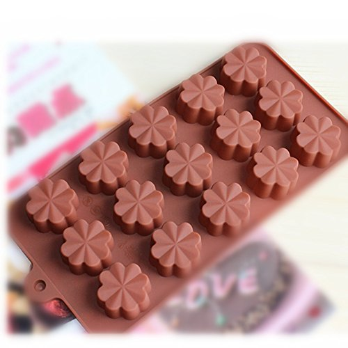 Evtech(Tm) 15 Cavity Flower Style Silicone Gel Non Stick Cake Bread Mousse Ice Pudding Mold Chocolate Jelly Candy Baking Mould?The Color May Be Vary)