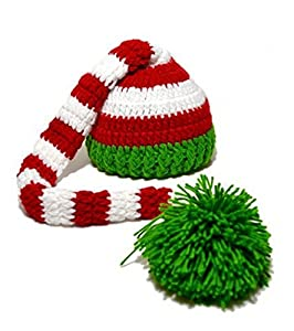 DAYAN Christmas Green Red Crochet Baby Boy Girl ELF Long Tail Pom-pom Hat Party Costume Photography Props