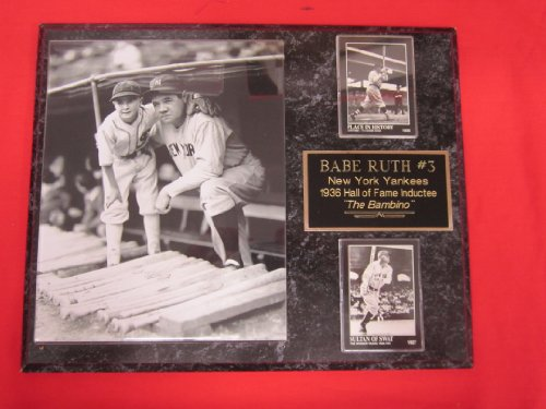 Babe Ruth New York Yankees 2 Card Collector Plaque w/8x10 RARE Vintage Photo With Young Fan at Amazon.com