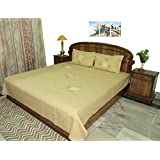 Amita's Home Furnishing Embroided Mustard Yellow Cotton Bed Linen - B00YR94Z0Q