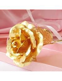 KDLINKS® 24K 6 Inch Gold Foil Rose, Best Valentine's Day Gift, Handcrafted And Last Forever! - 50% Bigger...