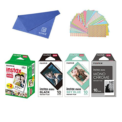 Fujifilm Instax Mini Instant Film 4-PACK BUNDLE SET , SKY BLUE 10 + Black Frame 10 + Monochrome 10 + Twin 20 + Original Cleaning Cloth + Stickers for Mini 90 8 70 7s 50s 25 300 Camera SP-1 Printer