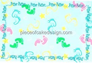 "6"" Round ~ Pitter Patter Baby Feet Baby Shower ~ Edible Image Cake/Cupcake Topper!!!"