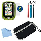 BIRUGEAR Neoprene Zipper Storage Carrying Case Cover plus 3pcs Stylus, 2-Pack Screen Protector for LeapFrog Leappad 2 Explorer Kids Learning Tablet with *Microfiber Cleaning Cloth*
