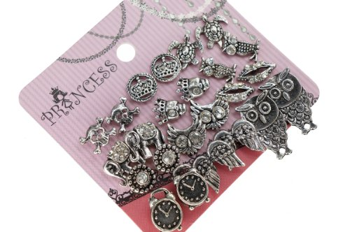 Antique Silver Tone Crystal Vintage Fashion Jewelry Stud Earrings, Pack of 12 (A)