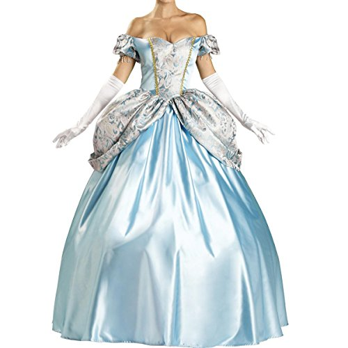 Quesera Women's Princess Costumes Cinderella Adult Halloween Costumes Prom Dress