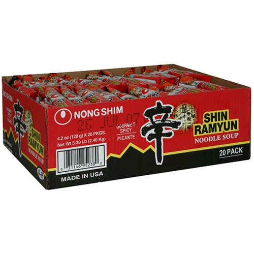 Nong Shim Shin Noodle Ramyun, Gourmet Spicy Picante, 4.2-Ounce Packages, 40-Count
