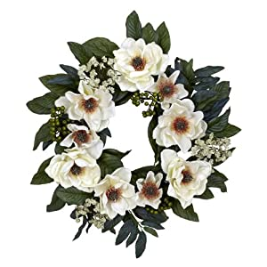 Nearly+Natural Nearly Natural 4793 Magnolia Wreath, 22-Inch, White