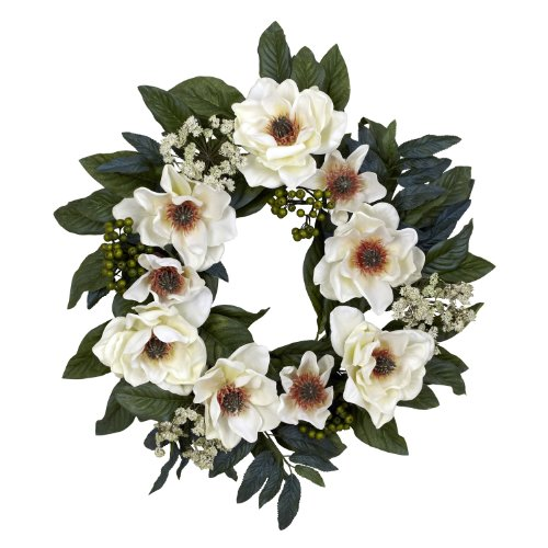 Nearly Natural 4793 Magnolia Wreath, 22-Inch, White
