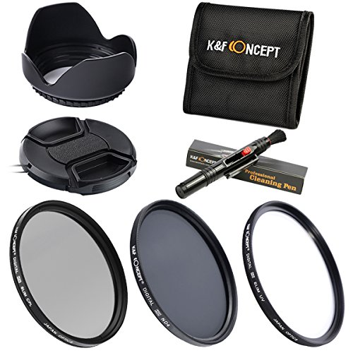 K&F Concept? 67mm Filtri Filter Kit 3pcs Slim Lens Filter Kit(UV+CPL+ND4) + Lens Cleaning Pen + Flower Petal Lens Hood + Center Pinch Lens Cap + Filter Bag