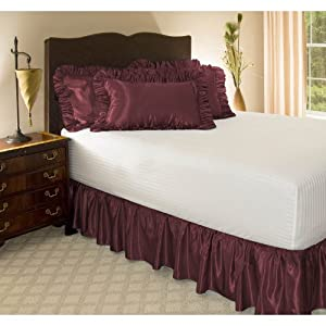 "Cal King Burgundy Satin Ruffled Bed Skirt, 18"" Drop"