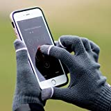 iGotTech 3300182 Texting Gloves for Smartphones & Touchscreens, Black With Gray Details