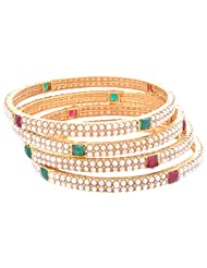 Signature Collection Jewelry Gold Plated Multicolor Pearl Bangle Set For Women