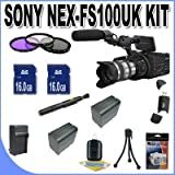 Sony NEX-FS100UK Super 35mm Sensor Camcorder (with Lens) + 2-16GB SDHC Memory Cards (Double Memory Kit!!) + 2 Extra Extended Life Batteries + Ac/Dc Rapid Charger + 3 Piece Filter Kit + USB Card Reader + Lens Pen Cleaner + Accessory Saver Bundle!