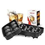 ChefLand Leak Proof 6 Ice Ball Mold Maker - Secure Closure Silicone Ice Tray - 4 Cm Diameter - Best Design for Luxury Cocktails and More - Black - Instructions Included