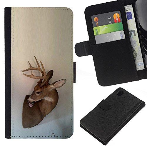 Antlers Beige Natura Primavera animale - Portafoglio in pelle della Carta di Credito fessure PU Holster Cover in pelle case Per Sony Xperia Z1 L39