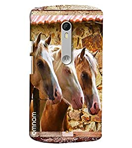 Omnam Three Horses Pattern Printed Designer Back Cover Case For Moto X Style
