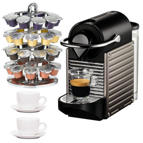 One Cup Ceramic Coffee Maker : Nespresso C60 Pixie C60 Single Cup Espresso Maker Titanium + Nifty Nespresso Coffee Carousel + 3 ...