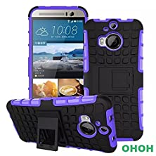 buy Htc One M9,Ohoh Hybrid Rubberized Tpu+Pc Scratchproof Shock Proof Skidproof Impact Resistant Hard Shell With Kickstand Htc One M9 (Purple)
