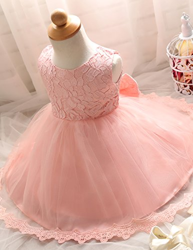 NNJXD Girls' Tulle Flower Princess Wedding Dress For Toddler and Baby Girl Pink 3-4 Years