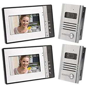 "Video Door Phone Intercom 7"" LCD Full Color Doorbell Intercom Kit 2 Camera 2 Monitor"