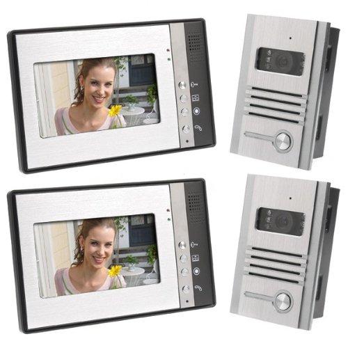 """Video Door Phone Intercom 7"""" Lcd Full Color Doorbell Intercom Kit 2 Camera 2 Monitor"""