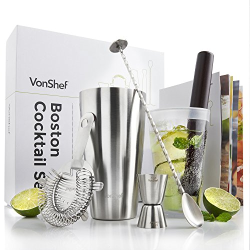 VonShef Premium Boston Cocktail Set with Recipe Guide, Stainless Steel 18.5 oz Shaker & Glass, Twisted Bar Spoon, Hawthorne Strainer, 0.5oz / 1oz Measuring Jigger & Wooden Muddler (Recipe Book Set compare prices)