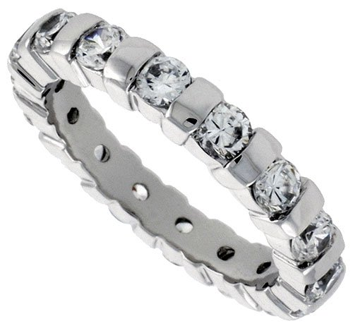 Sterling Silver Cubic Zirconia Eternity Ring Rhodium finished w/ 3mm Brilliant Cut 1/8 inch (3.5 mm) wide, size 6
