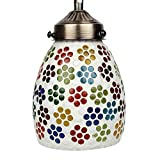 EarthenMetal Handcrafted Colourful Flowers Desgin Mosaic Glass Hanging Light