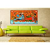 Tamatina Kerala Mural Canvas Paintings - Jai Sri Krishna - Vishnu Avatar - Traditional Canvas Paintings - 5 Ft...