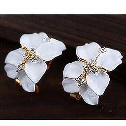 Chic Girl\'s Gardenia Flower Crystal Rhinestone Ear Hoop Buckle Ear Stud Earrings White by foreveryang