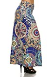 (Plus Size) Bohemian Print High Waisted Self banded Maxi Skirt (MADE IN U.S.A)