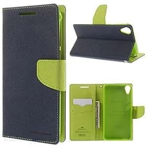 RIdhaniyaa Mercury Goospery Flip Wallet Case Cover for Lenovo K3/ A6000/A6000 Plus - [Blue/Green]