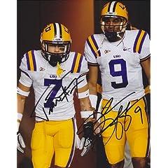 Tyrann Mathieu and Jordan Jefferson Autographed Hand Signed LSU Tigers 8x10 Photo -...