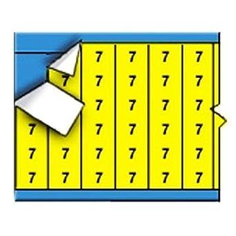 Negro, en números sólidos Yellow Card Marker alambre (25 tarjetas