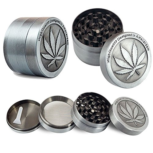 Metal Stainless Steel Coin Shape Pattern 1.5 Inch 4 Piece Herbal Spice Herb Tobacco Grinder Smoke Cigar Small Silver (Bullet Pipe Keychain compare prices)