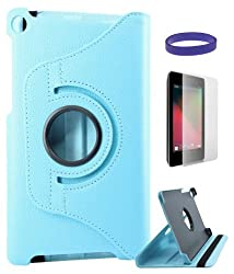 DMG Full 360 Rotating Stand Cover Case for ASUS Google Nexus 7 2013 Edition with Matte Screen Protector and DMG Wristband (Blue)