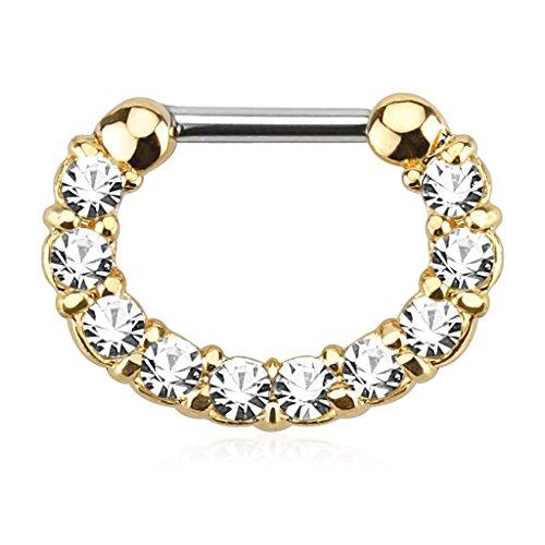 Piercing Boutique Piercing ad anello per setto nasale, in acciaio chirurgico placcato oro, 16 G (1,2 mm), con zircone trasparente, pezzo unico