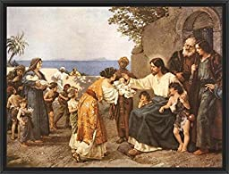 42in x 32in Christ Blessing the Children by H. Clementz - Black Floater Framed Canvas w/ BRUSHSTROKES